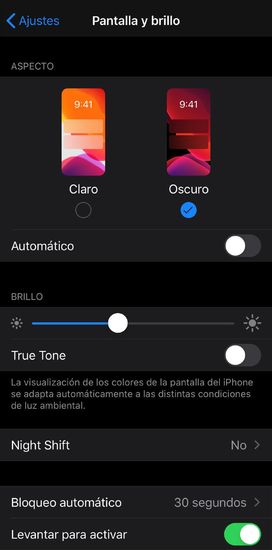 modo oscuro iphone