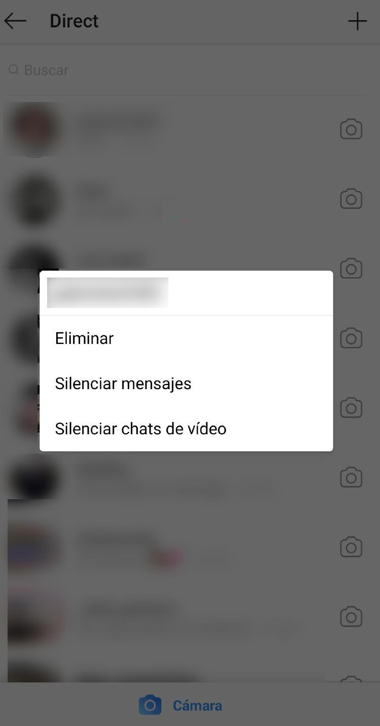 silenciar contacto Instagram