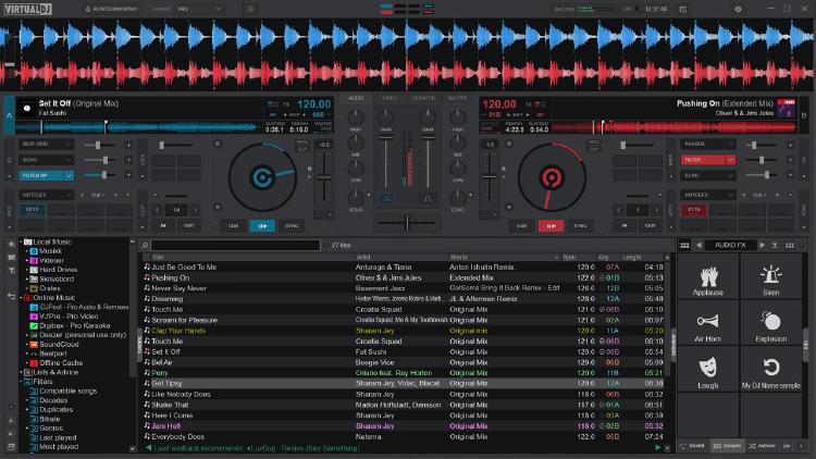 interfaz virtual DJ
