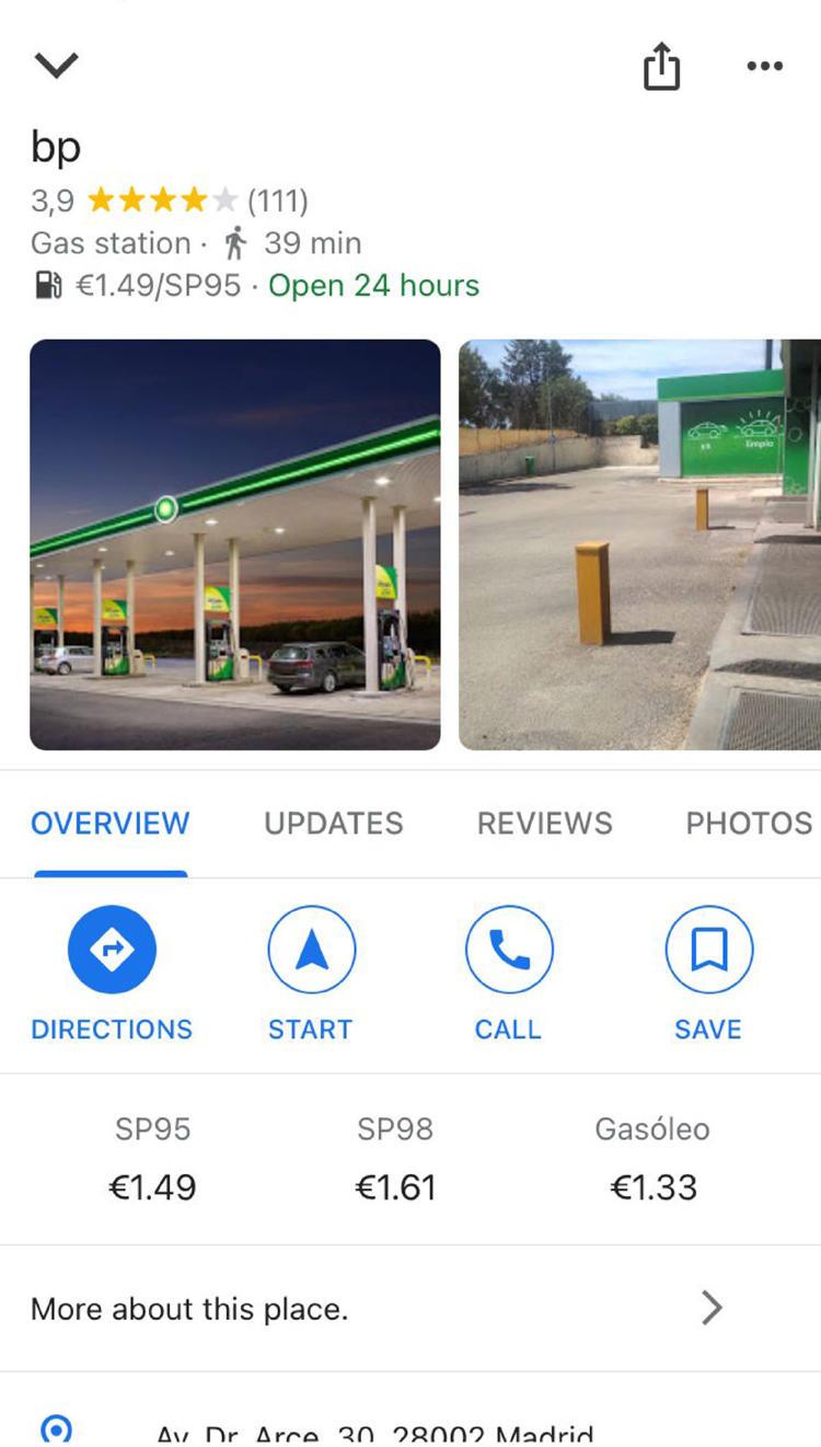 precio gasolina google maps
