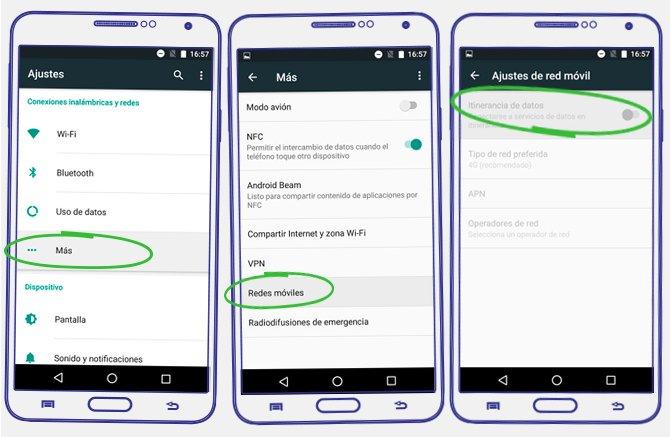 itinerancia datos android