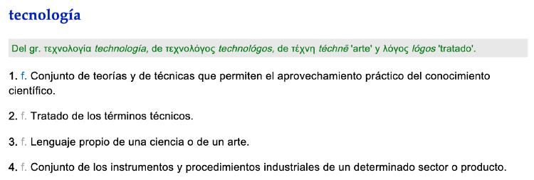 Tecnologia segun la RAE