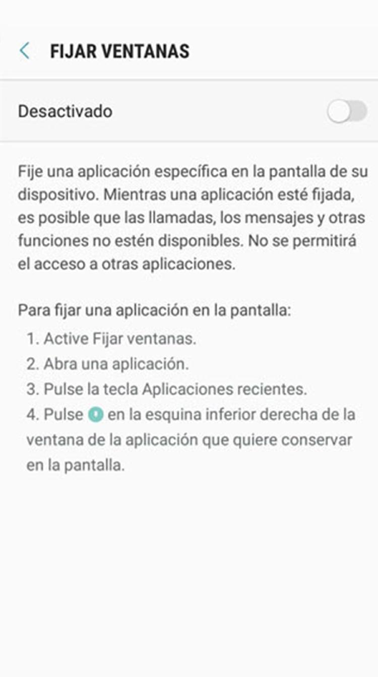 fijar ventana Android