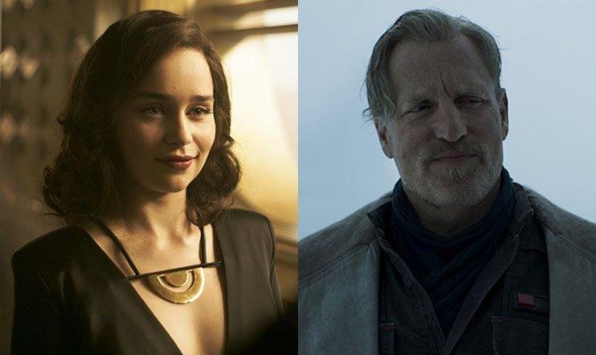 A la izquierda, Emilia Clarke. A la derecha, Woody Harrelson