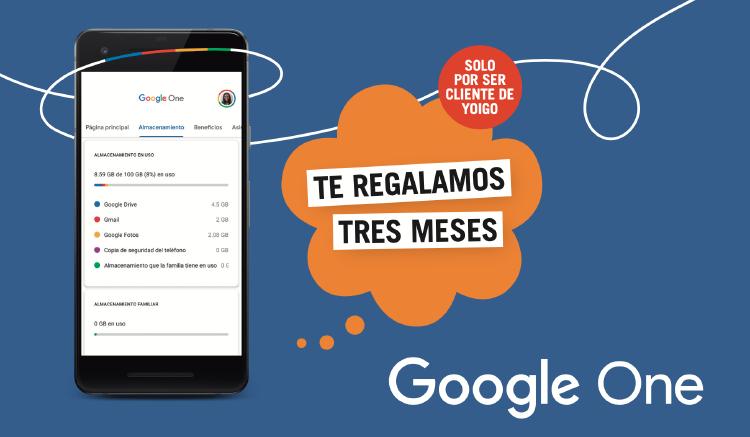 Google One tres meses con Yoigo
