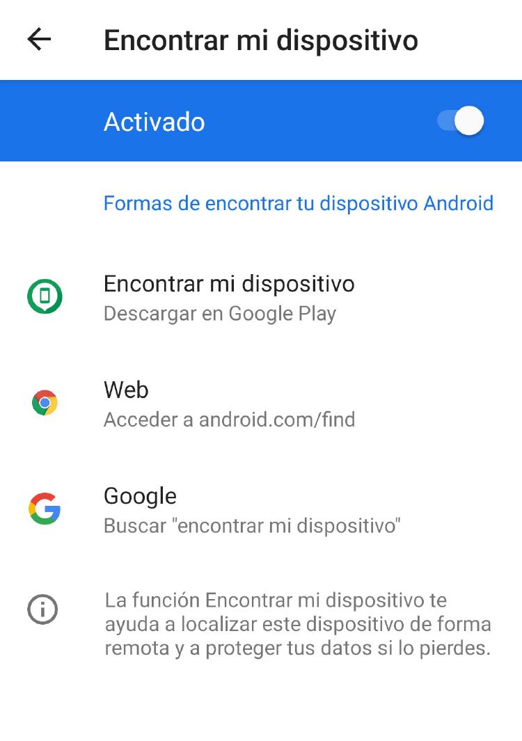 Ajustar Encontrar mi dispositivo Android