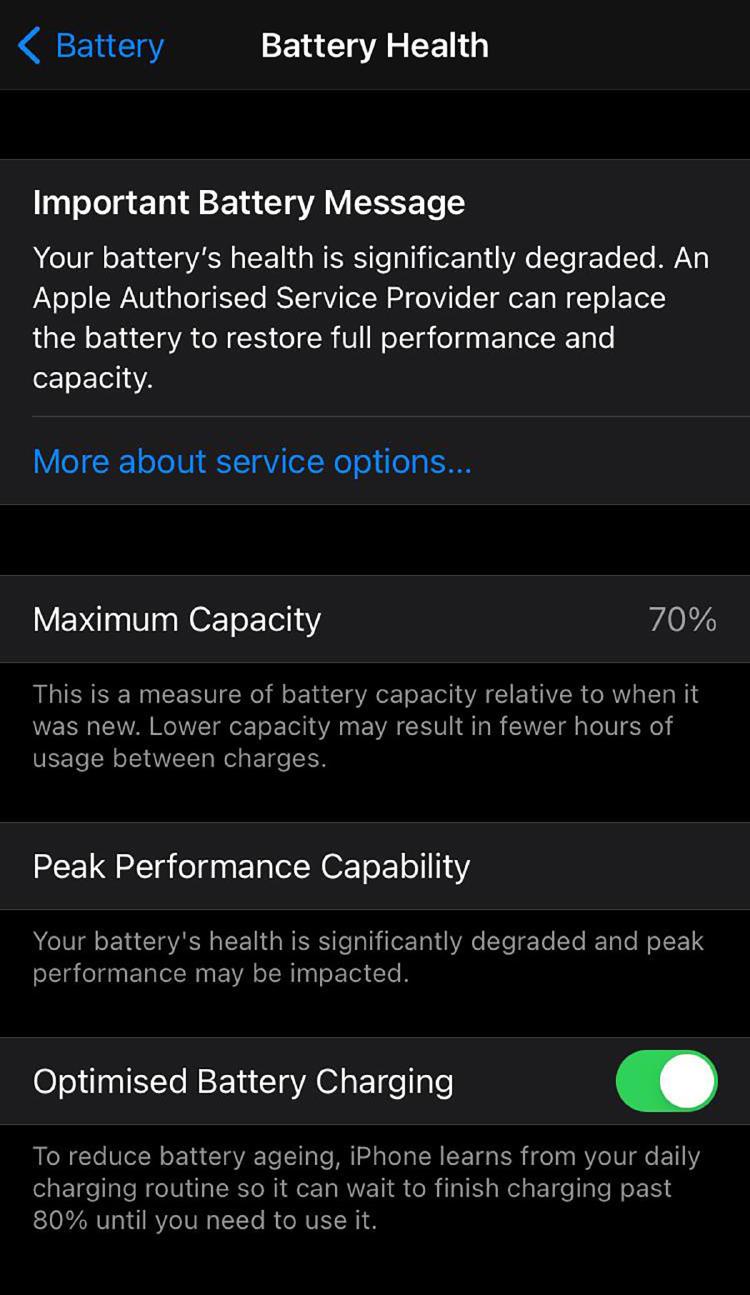 salud batería iphone ios