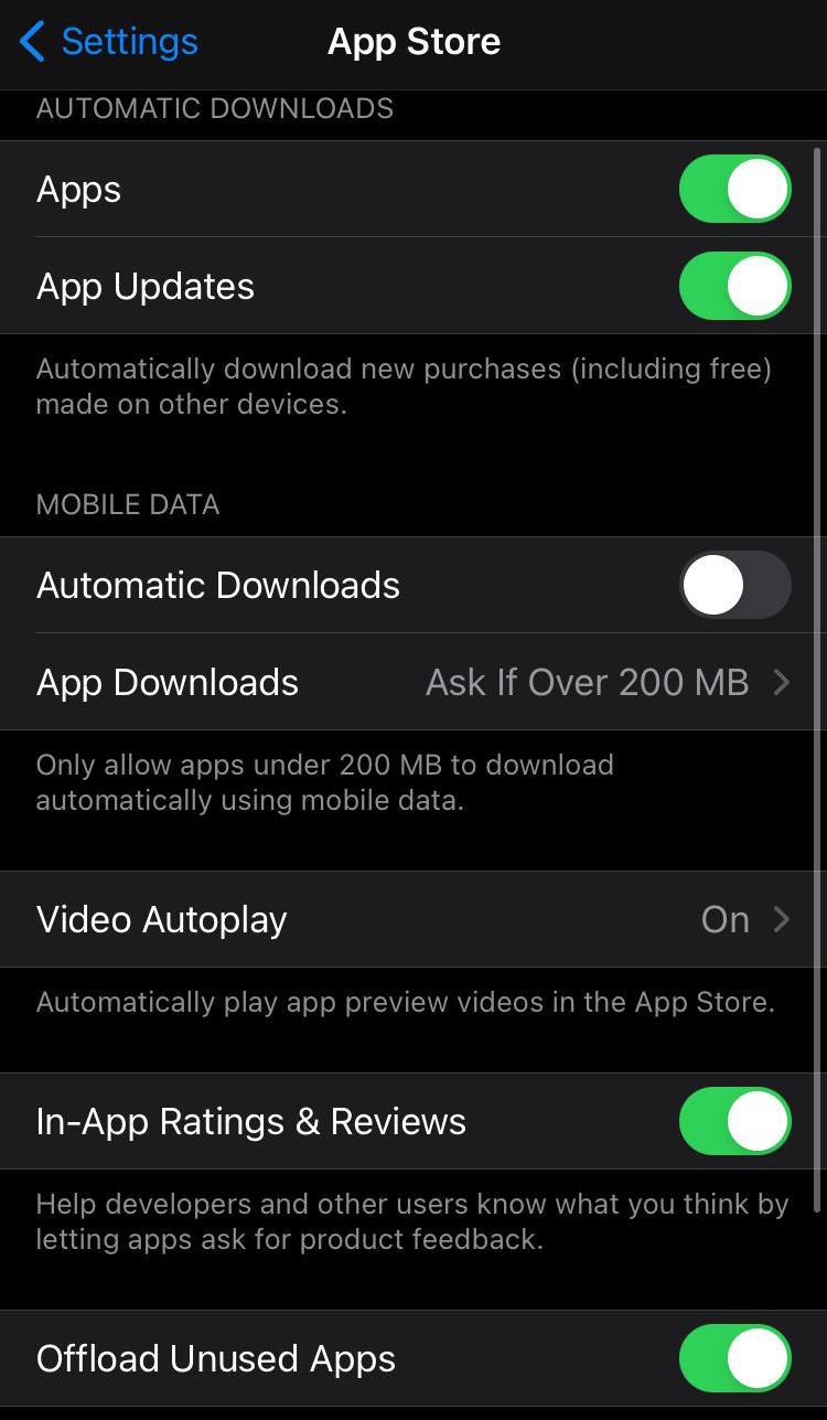 actualización automática ios