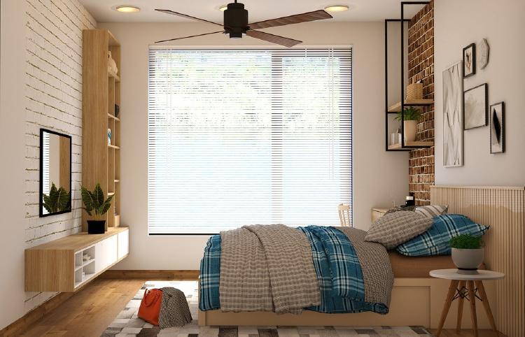 Dormitorio con ventilador de techo